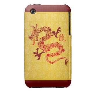 Año chino rojo del dragón 2012 iPhone 3 Case-Mate carcasas