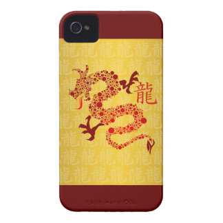 Año chino rojo del dragón 2012 iPhone 4 funda