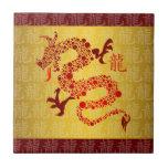Año chino rojo del dragón 2012 tejas  cerámicas