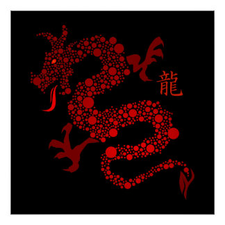 Año chino rojo del dragón posters