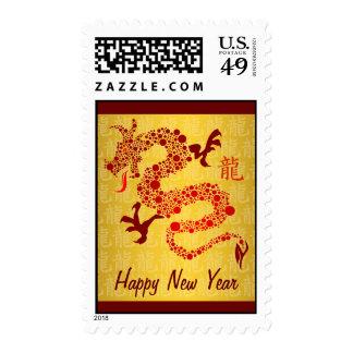 Año chino rojo del franqueo del dragón