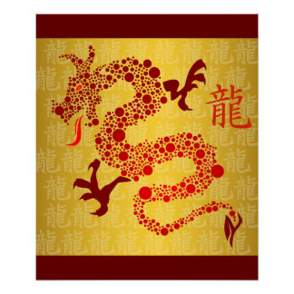Año chino rojo del poster 2012 del dragón