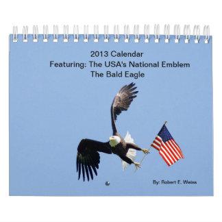 Año civil de 2013/Eagles calvo de atracción Calendario De Pared