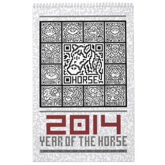 Año civil del zodiaco de 2014 chinos del caballo calendarios