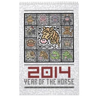Año civil del zodiaco de 2014 chinos del caballo calendario