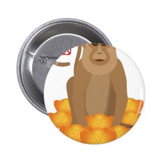 Año de 2016 chinos del mono con las barras de oro pin redondo 5 cm