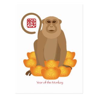 Año de 2016 chinos del mono con las barras de oro postales