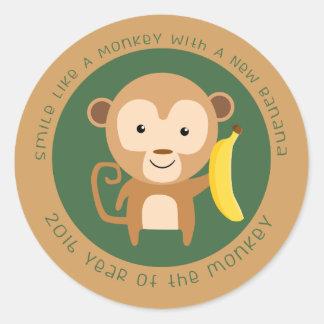 Año de 2016 monos pegatina redonda