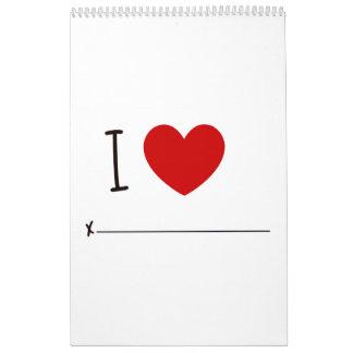Año de amor cada mes calendarios