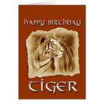 ¡Año de cumpleaños del tigre! Zodiaco-Vintage chin Felicitacion
