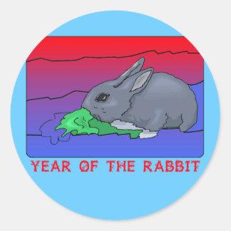 Año de Customizeable del diseño del conejo Etiqueta Redonda