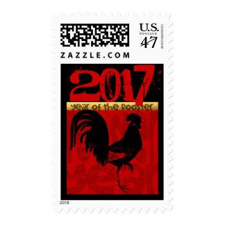año de encargo del Año Nuevo chino del gallo 2017 Timbres Postales