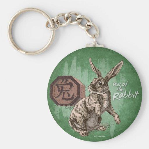 Año de la astrología china del zodiaco del conejo llavero