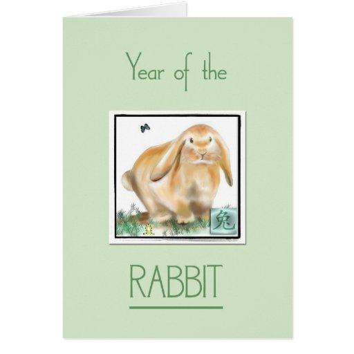 Año de la astrología Conejo-China Tarjeta De Felicitación