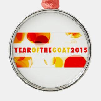 año de la cabra 2015 (bokeh) adorno redondo plateado
