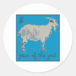 Año de la cabra etiqueta redonda