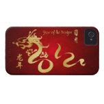 Año de la caligrafía 2012 del oro del dragón Case-Mate iPhone 4 fundas