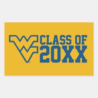 Año de la clase de Virginia Occidental - oro Pegatina Rectangular