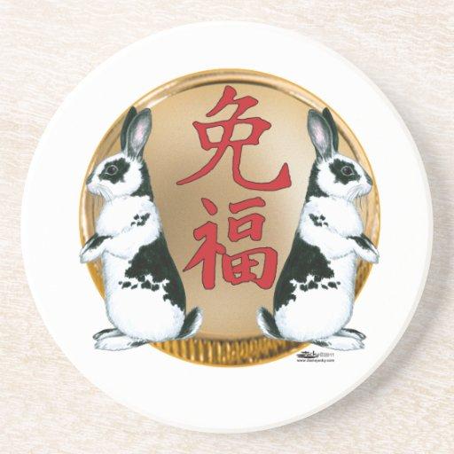 Año de la Conejo-Buena suerte Posavasos Diseño