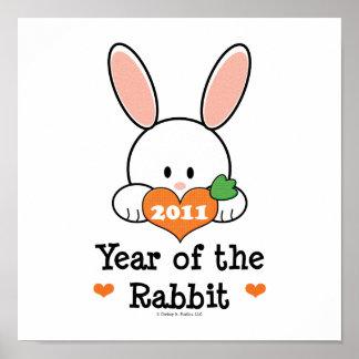 Año de la impresión del conejo póster