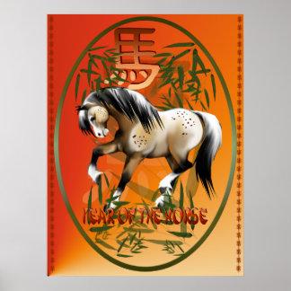 Año de la impresión oval del caballo póster