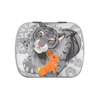 Año de la lata del caramelo del tigre/del conejo latas de caramelos