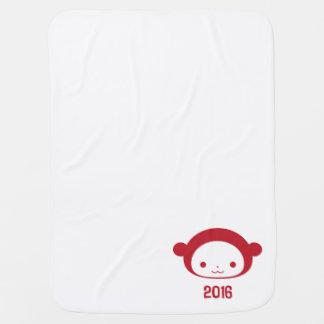 Año de la manta 2016 del bebé del mono mantas de bebé