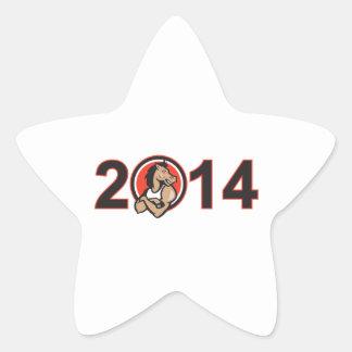 Año de la mascota 2014 del caballo calcomanías forma de estrella