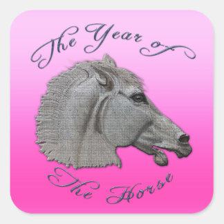 Año de la mitología griega del caballo pegatinas cuadradas personalizadas