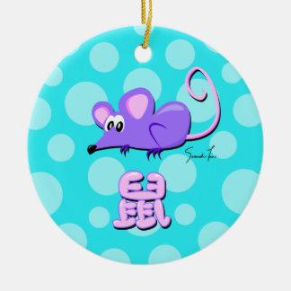 Año de la rata adorno navideño redondo de cerámica
