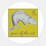 Año de la rata pegatinas redondas