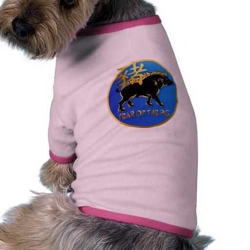 Año de la ropa Cerdo-Negra del mascota del símbolo Camiseta Con Mangas Para Perro