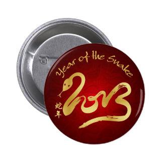 Año de la serpiente 2013 - Año Nuevo chino Pin Redondo De 2 Pulgadas
