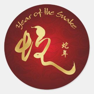 Año de la serpiente 2013 - caligrafía de la serpie pegatinas redondas