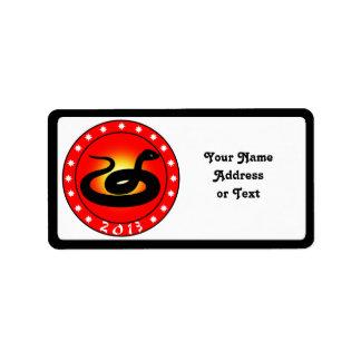 Año de la serpiente 2013 etiqueta de dirección