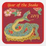 Año de la serpiente calcomanías cuadradass