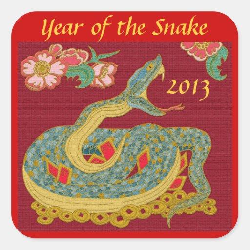 Año de la serpiente pegatina cuadrada