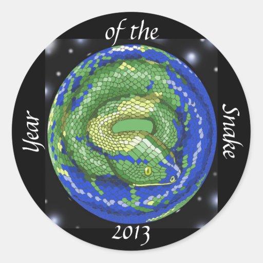Año de la serpiente pegatina redonda