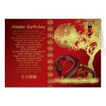 año de la tarjeta de cumpleaños del dragón - rojo