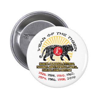 Año de las calidades del tigre pin redondo de 2 pulgadas