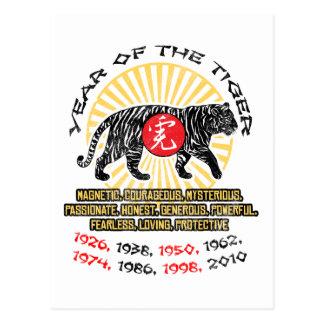 Año de las calidades del tigre postales