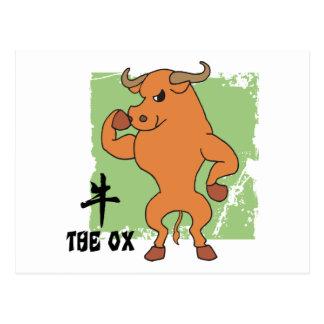 Año de las camisetas del buey tarjeta postal