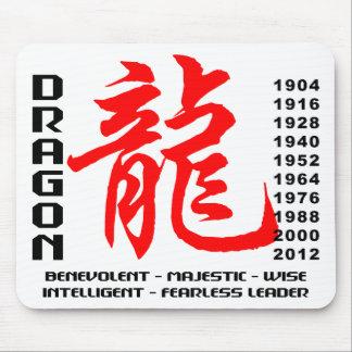 Año de las características del dragón tapetes de ratón