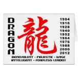 Año de las características del dragón tarjetón