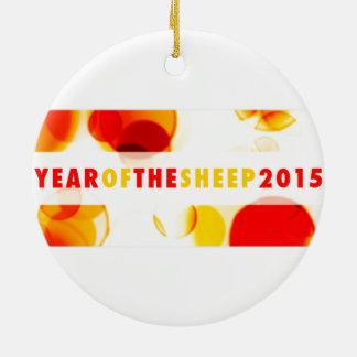 año de las ovejas 2015 (bokeh) adorno redondo de cerámica