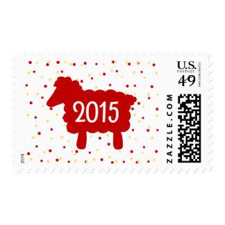 Año de las ovejas 2015 con el sello del confeti