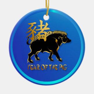 Año de los ornamentos Cerdo-Negros del símbolo del Adorno Navideño Redondo De Cerámica