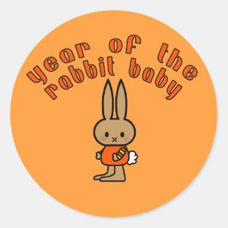 Año de los regalos del personalizado del bebé del etiquetas redondas