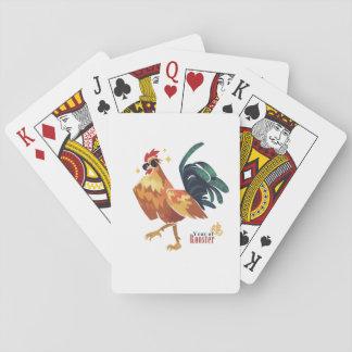 Año de naipes del carácter chino del gallo barajas de cartas