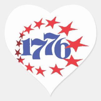 AÑO DE NUESTRA INDEPENDENCIA 1776 PEGATINA EN FORMA DE CORAZÓN